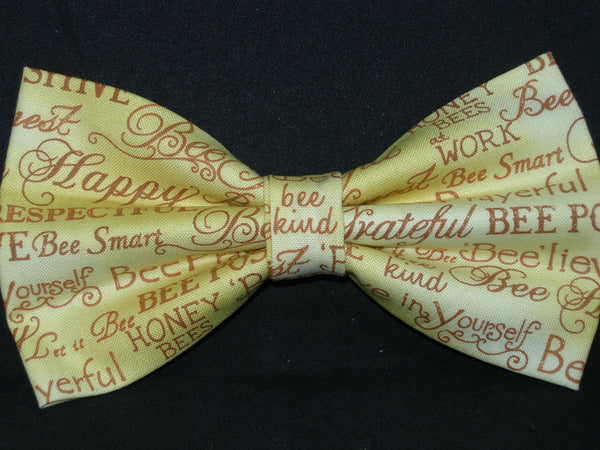 Bee Kind Bow tie / Positive Bee Words on Gold / Bee Happy / Pre-tied Bow tie - Bow Tie Expressions