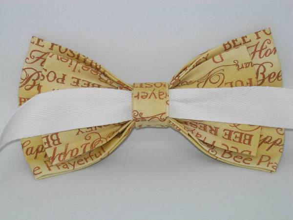 Bee Kind Bow tie / Positive Bee Words on Gold / Bee Happy / Self-tie & Pre-tied Bow tie - Bow Tie Expressions