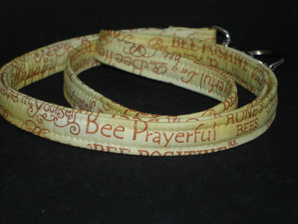 Bee Kind Lanyard / Bee Words on Honey Gold / Bee Positive / Key Chain, Key Fob, Cell Phone Wristlet - Bow Tie Expressions