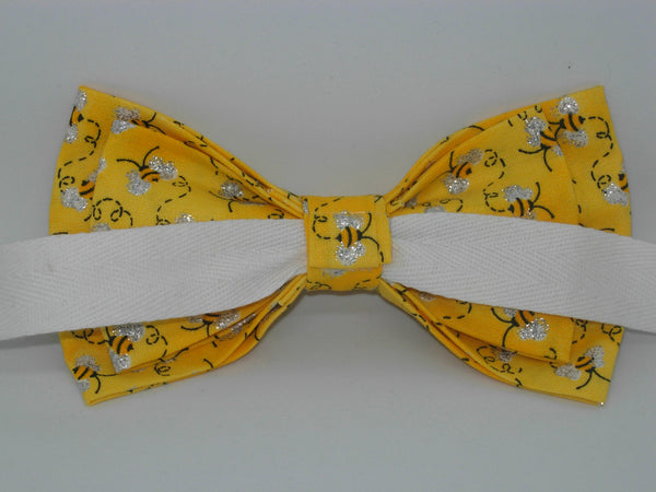 Bee Bow Tie / Busy Bees on Yellow / Metallic Silver Wings / Self-tie & Pre-tied Bow tie - Bow Tie Expressions