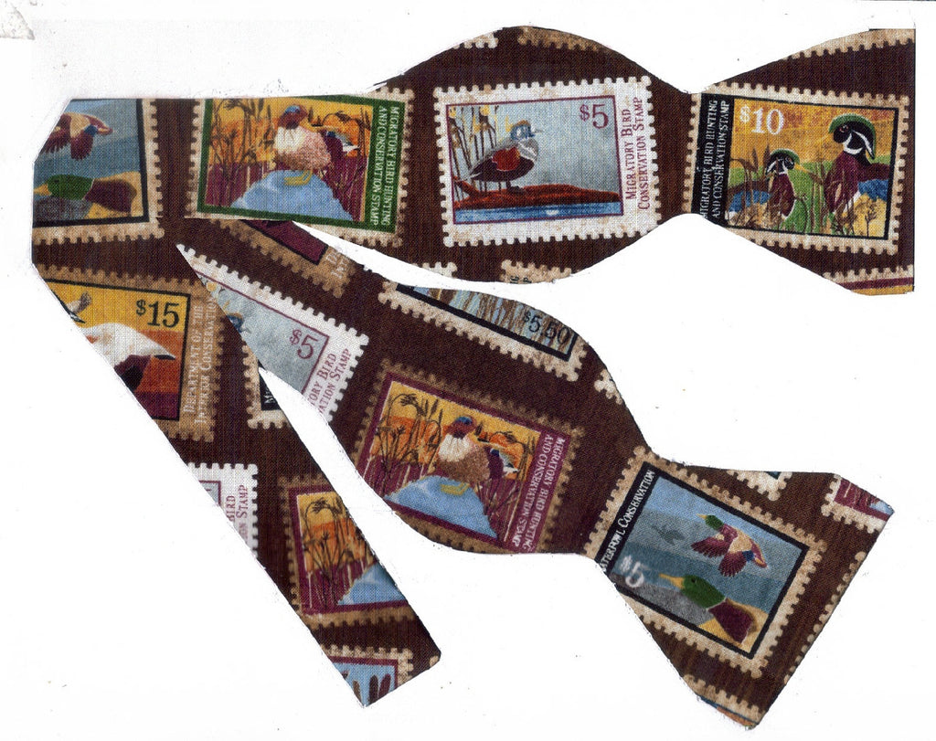 FEDERAL DUCK STAMPS BOW TIE - MIGRATORY BIRD COLLECTOR STAMPS ON BROWN - Bow Tie Expressions