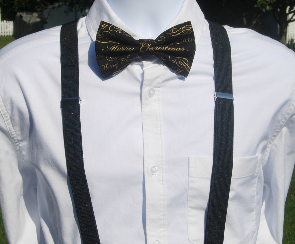 Merry Christmas Bow Tie & Suspender Set - Black Suspenders - Mens MED/LG/XL, Boys SMALL - Bow Tie Expressions