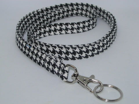 Houndstooth Lanyard / Classic Black & White / Teacher Lanyard, Key Chain, Cell Phone Wristlet - Bow Tie Expressions
