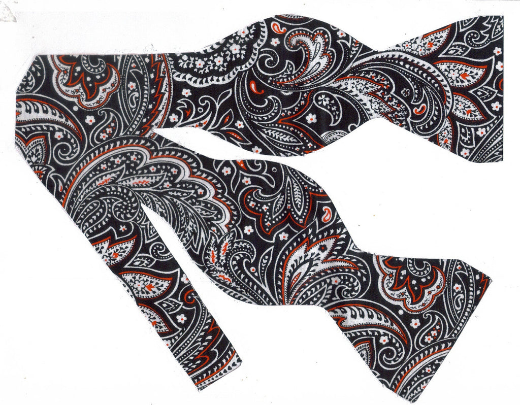EXECUTIVE PAISLEY BOW TIE - RED, WHITE & BLACK PAISLEY - Bow Tie Expressions