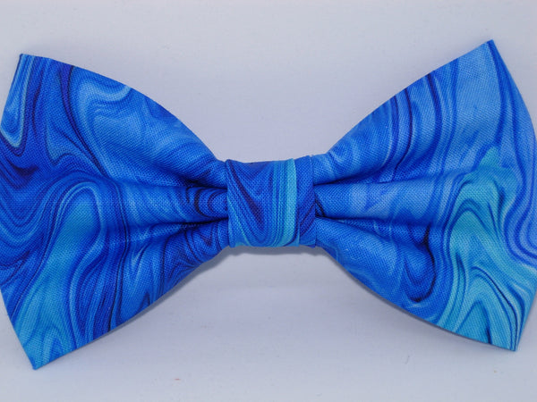 Sapphire Blue Bow tie / Abstract Ocean / Blue Marble / Pre-tied Bow tie - Bow Tie Expressions
