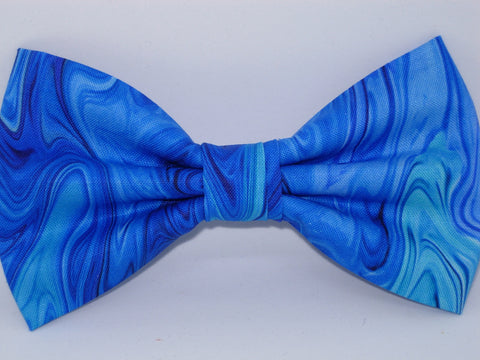 Sapphire Blue Bow tie / Abstract Ocean / Blue Marble / Pre-tied Bow tie