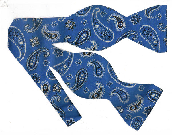 Denim Blue Paisley Bow tie / Western Bandana Paisley / Self-tie & Pre-tied Bow tie - Bow Tie Expressions