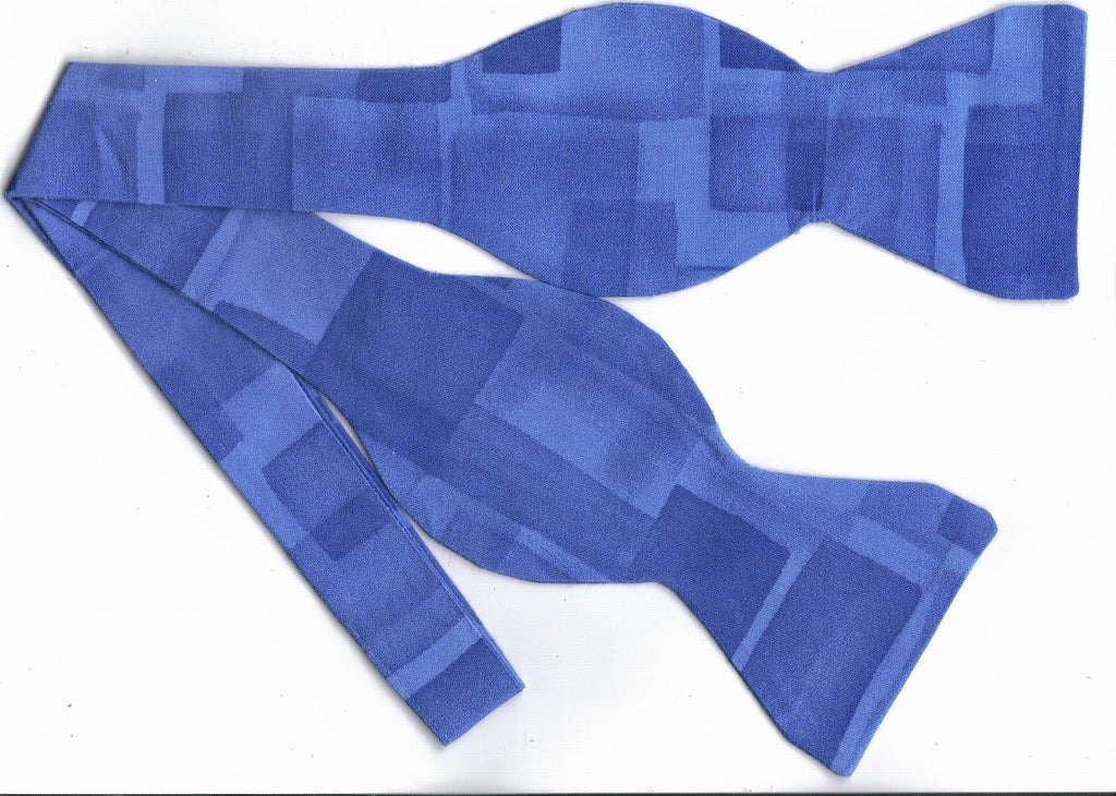 SHADES OF BLUE ABSTRACT SQUARES BOW TIE - Bow Tie Expressions