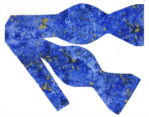 Blue & Gold Bow tie / Metallic Gold Flakes on Cobalt Blue / Self-tie & Pre-tied Bow tie - Bow Tie Expressions