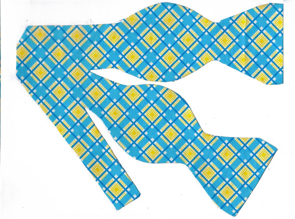 SUMMER BREEZE BOW TIE - TEAL, TURQUOISE & YELLOW DIAGONAL PLAID - Bow Tie Expressions
