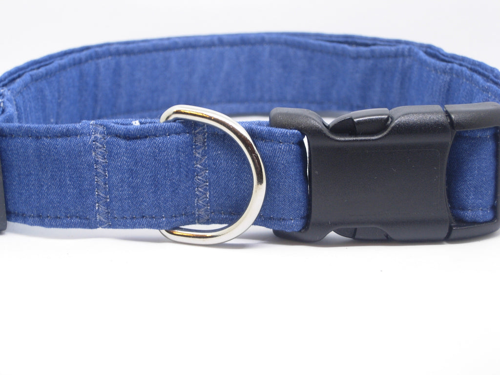 Blue Demin Dog Collar / Soft Blue Jeans / Country Western / Matching Dog Bow tie - Bow Tie Expressions