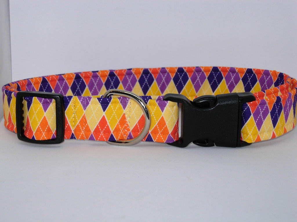 Bright Argyle Dog Collar / Orange, Purple, Yellow, Navy Blue Argyle / Fall Colors / Matching Dog Bow tie - Bow Tie Expressions