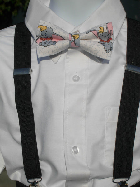 Dumbo Bow Tie & Suspender Set - Black Suspenders - Mens MED/LG/XL, Boys SMALL - Bow Tie Expressions