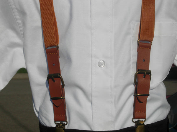 Faux Leather Buckle Suspenders - Elastic Tan Boys Suspenders - Ages 2 to 8 years - Bow Tie Expressions