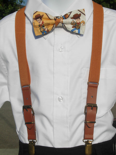 Sheriff Woody Bow tie & Suspenders / Faux Leather Buckle Suspenders / Elastic Tan Boys Suspenders / Ages 2 to 8 years - Bow Tie Expressions