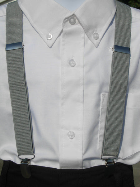 Gray Suspenders - Mens Suspenders - Boys & Baby Suspenders - Small/Large/X-Large - Bow Tie Expressions