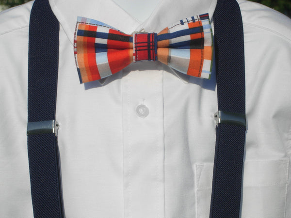 Nautical Plaid Bow Tie & Suspender Set - Navy Blue Suspenders - Mens LG/XL, Boys SMALL - Bow Tie Expressions