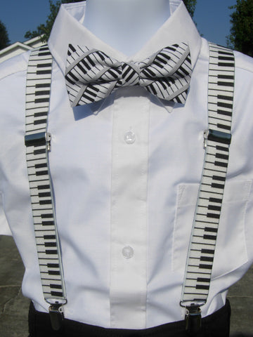 Piano Keys Bow Tie & Suspender Set - Boys Suspenders - Ages 6mo. - 6yrs. - Bow Tie Expressions