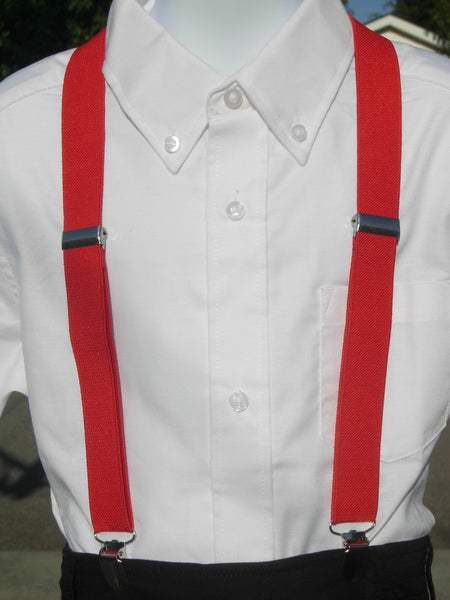 Red Suspenders - Mens Suspenders - Boys Suspenders - Small/Medium/Large - Bow Tie Expressions