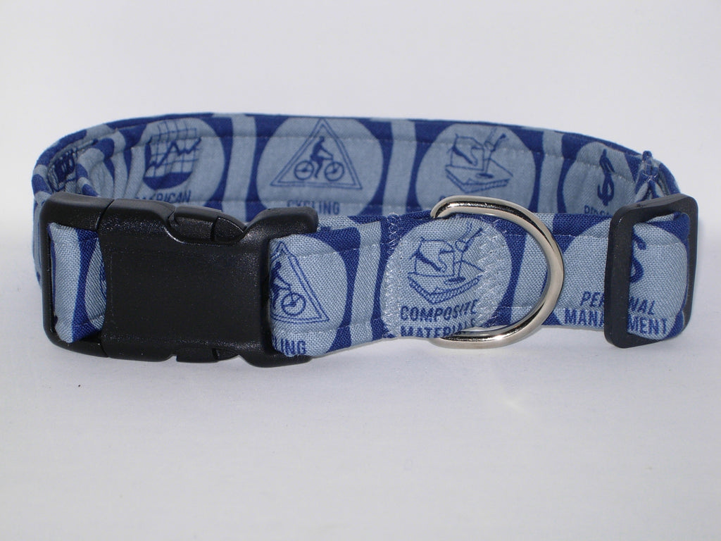 Boy Scout Dog Collar / Merit Badges on Denim Blue / Troop Leader / Eagle Scout / Matching Dog Bow tie