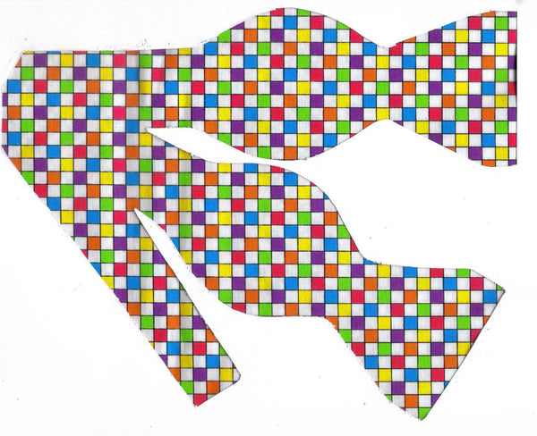 Easter Bow tie / Mini Checks in Spring Colors / Self-tie & Pre-tied Bow tie - Bow Tie Expressions