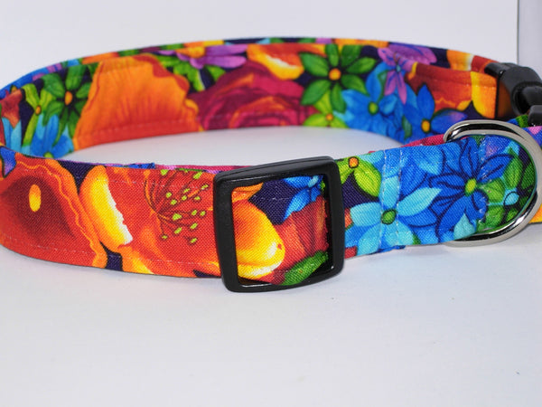 Bright Flowers Dog Collar / Blue, Red, Orange & Purple Floral Pet Collar / Matching Dog Bow tie - Bow Tie Expressions