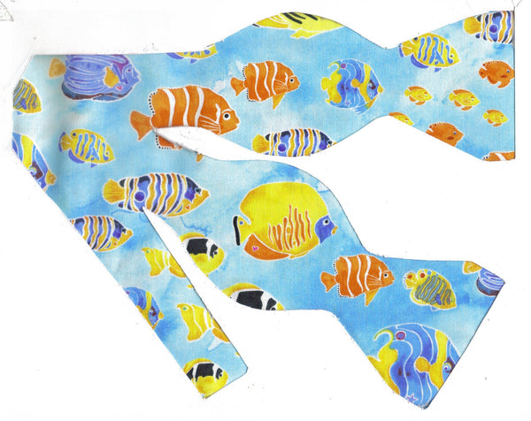 Tropical Fish Bow tie / Colorful Fish on Light Blue / Self-tie & Pre-tied Bow tie - Bow Tie Expressions