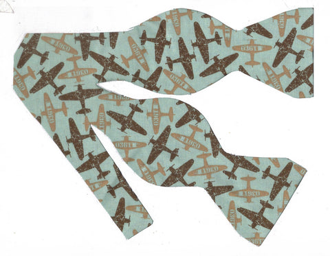 HIGH FLYING BOW TIE - WEATHERED BROWN & KHAKI AIRPLANES ON MINT GREEN - Bow Tie Expressions