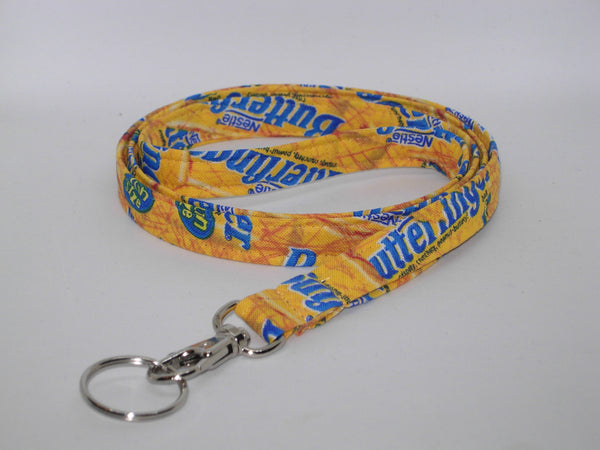Butterfinger Lanyard / Fun Size Butterfinger Wrappers / Candy Bar Key Chain, Key Fob, Cell Phone Wristlet - Bow Tie Expressions