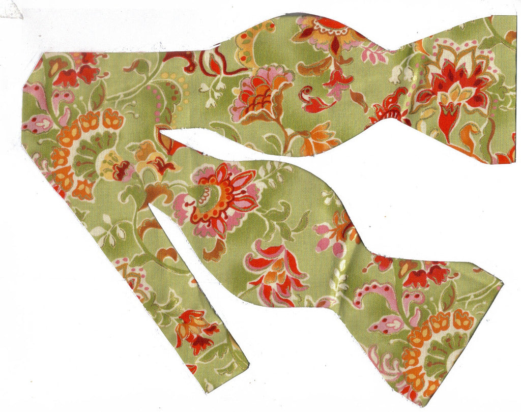 Casablanca Bow tie / Pink Flowers on Sage Green / Metallic Gold / Self-tie & Pre-tied Bow tie - Bow Tie Expressions