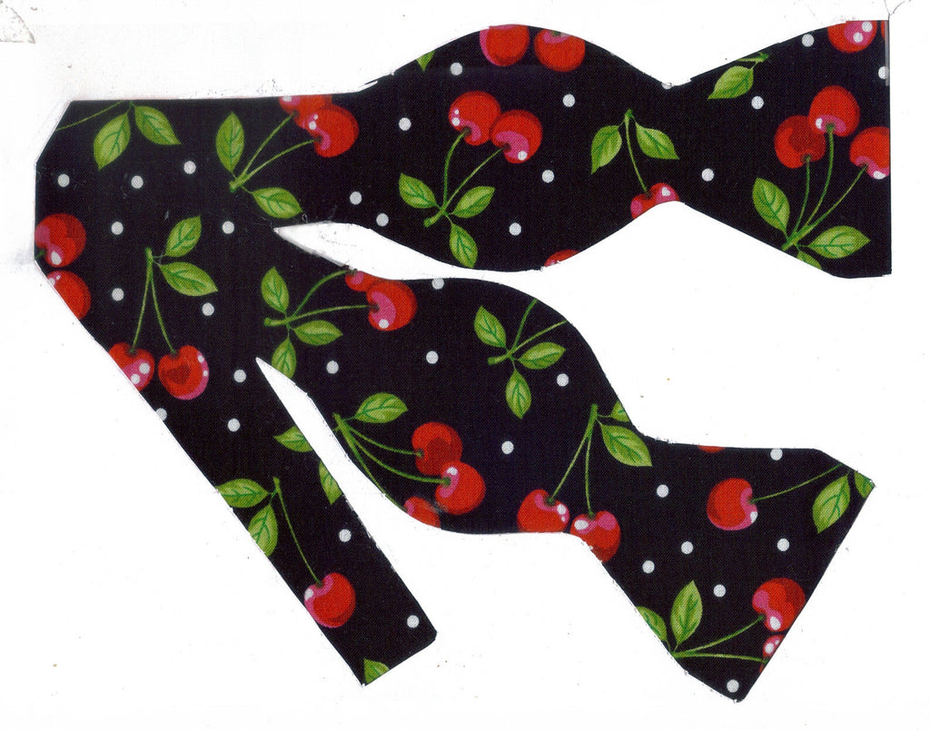 Cherry Bow tie Pre-tied Bow tie Red Cherries /& White Polka Dots on Black