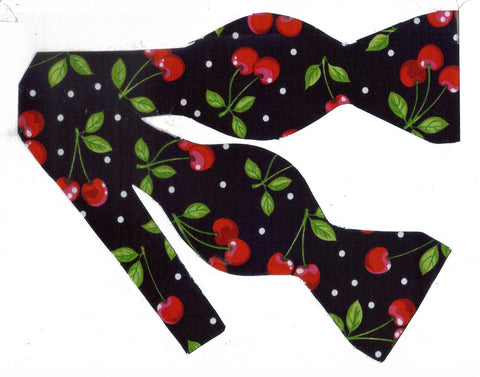 CHERRY DELIGHT BOW TIE - RED, RIPE CHERRIES ON BLACK WITH POLKA DOTS - Bow Tie Expressions