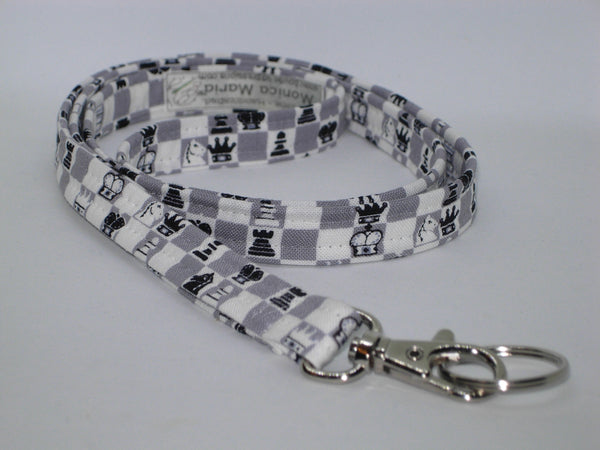 Chess Master Lanyard / Chess Game Key Chain / Cell Phone Wristlet / Lanyard for Men / Teacher Lanyard / Gift for Champion / Chess Board Key Fob