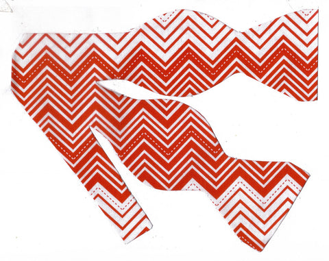 RED & WHITE CHEVRON STRIPES BOW TIE - Bow Tie Expressions  - 1