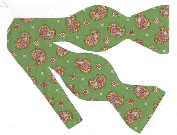 SIMPLY PAISLEY BOW TIE - PINK FLOWER INSIDE YELLOW PAISLEY ON GREEN - Bow Tie Expressions