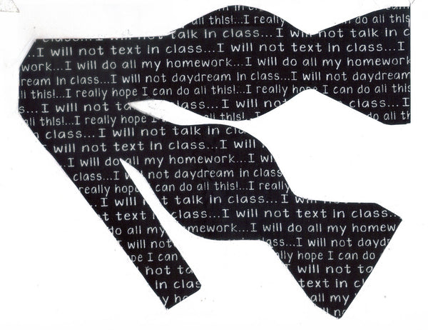 School Bow tie / Classroom Rules about Texting, Talking, Homework / Self-tie & Pre-tied Bow tie - Bow Tie Expressions