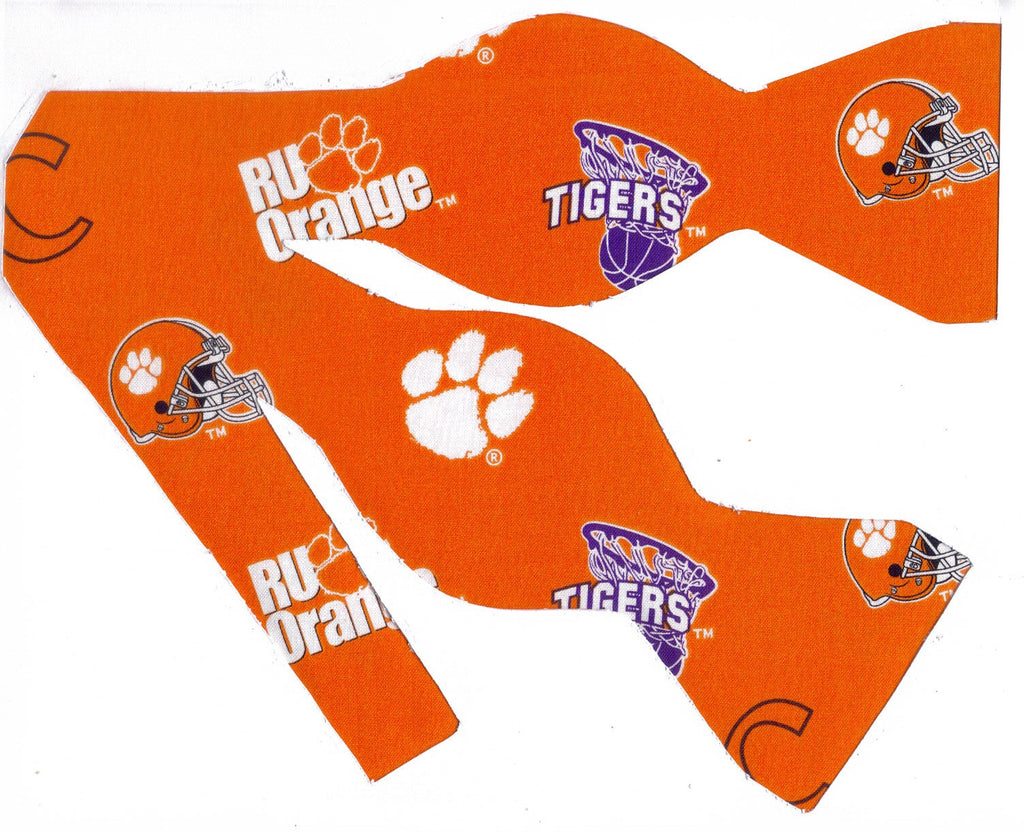 CLEMSON TIGERS BOW TIE (ICONS ON ORANGE) - Bow Tie Expressions
