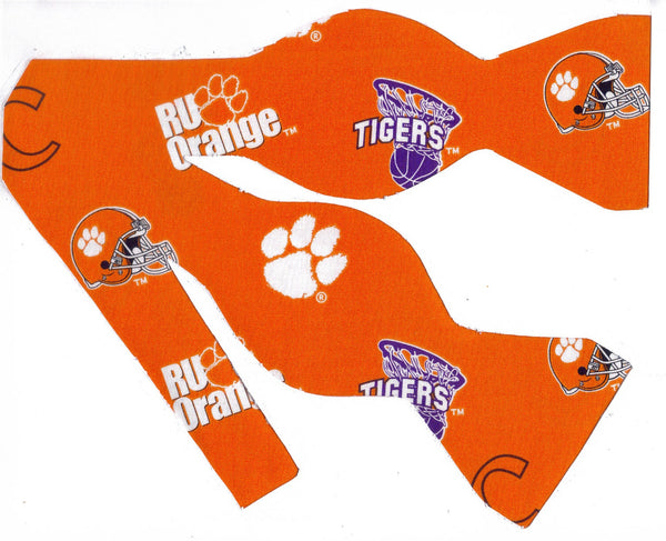 Clemson Bow tie (Icons on Orange) Clemson Tigers / CU College / Self-tie & Pre-tied Bow tie - Bow Tie Expressions