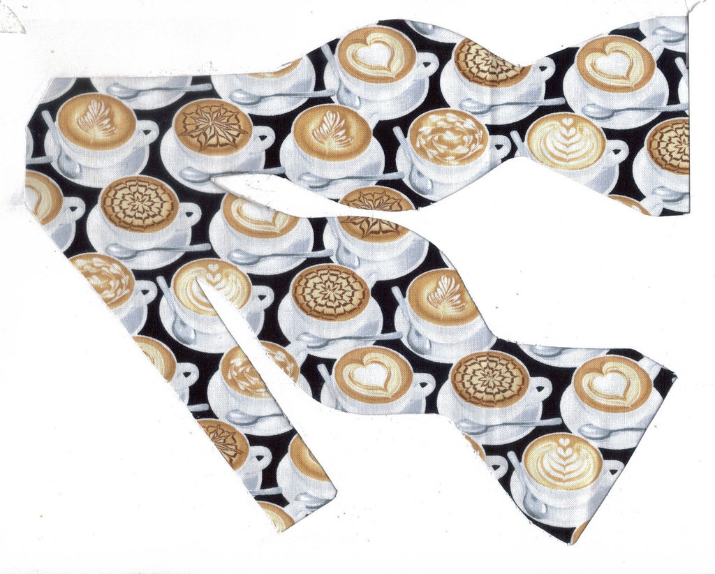 Latte Art Bow tie / Decorated Coffee Cups on Black / Barista / Coffee Shop / Self-tie & Pre-tied Bow tie - Bow Tie Expressions