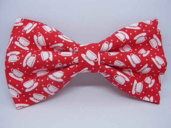 Coffee Cup Bow tie / White Coffee Cups on Red / Barista / Coffee Shop / Self-tie & Pre-tied Bow tie - Bow Tie Expressions