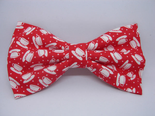 Coffee Cup Bow tie / White Coffee Cups on Red / Barista / Coffee Shop / Pre-tied Bow tie - Bow Tie Expressions