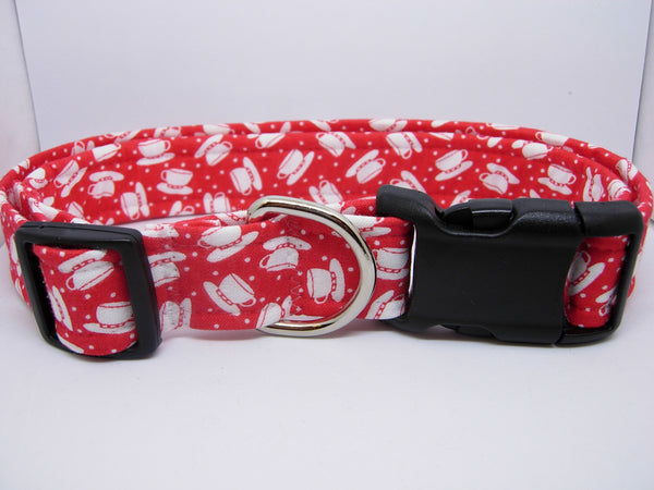 Coffee Dog Collar / White Coffee Cups on Red / Barista Pet / Matching Dog Bow tie - Bow Tie Expressions