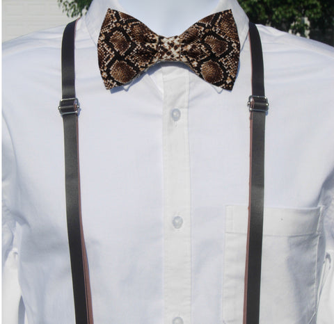 Snake Print Bow Tie & Leather Suspenders Set - Faux Brown Leather Suspenders - Mens MED/LG