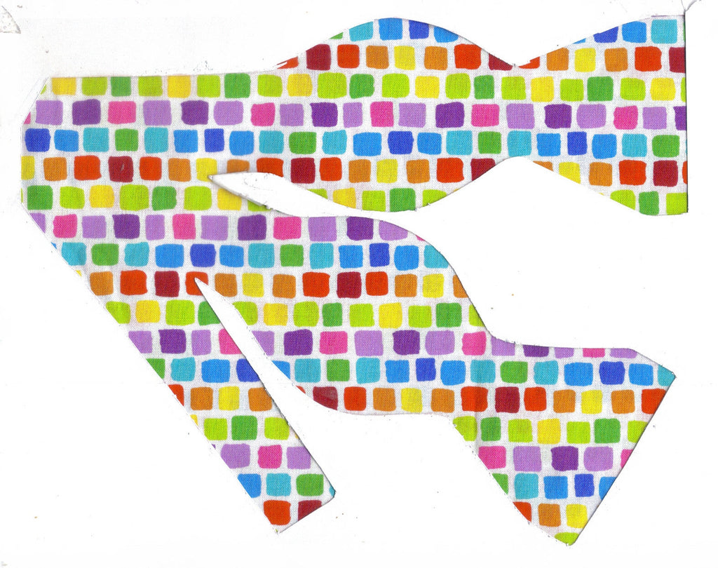 EASTER / SPRING TILES BOW TIE - RED, BLUE, GREEN, YELLOW, PURPLE & ORANGE - Bow Tie Expressions