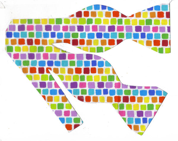 EASTER / SPRING TILES BOW TIE - RED, BLUE, GREEN, YELLOW, PURPLE & ORANGE - Bow Tie Expressions  - 1