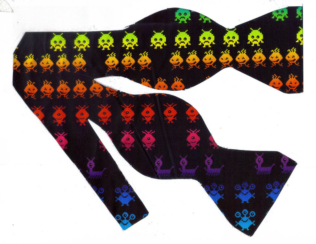 CLASSIC VIDEO GAME BOW TIE - RED, BLUE, GREEN, PURPLE & YELLOW ALIENS ON BLACK - Bow Tie Expressions  - 1