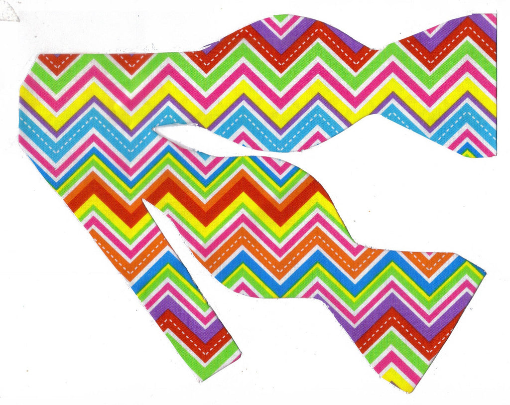 NEON CHEVRON STRIPES BOW TIE - HOT PINK, BRIGHT RED, GREEN, YELLOW, ORANGE & BLUE - Bow Tie Expressions