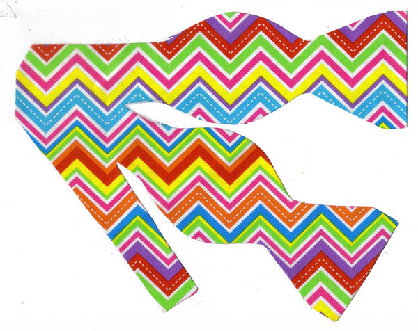 NEON CHEVRON STRIPES BOW TIE - HOT PINK, BRIGHT RED, GREEN, YELLOW, ORANGE & BLUE - Bow Tie Expressions  - 1