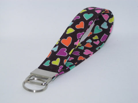 Happy Hearts Key Fob / Colorful Mini Hearts on Brown / Valentine Lanyard, Key Chain, Cell Phone Wristlet - Bow Tie Expressions