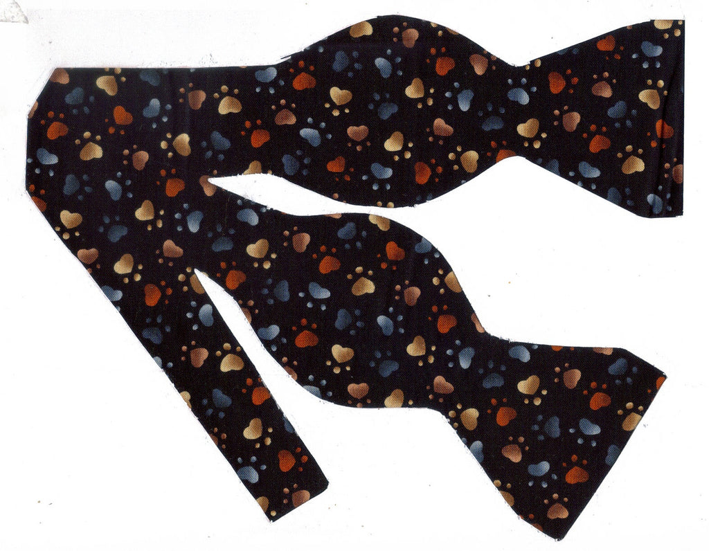 COLORFUL PUPPY PAWS PRINTS ON BLACK BOW TIE - Bow Tie Expressions